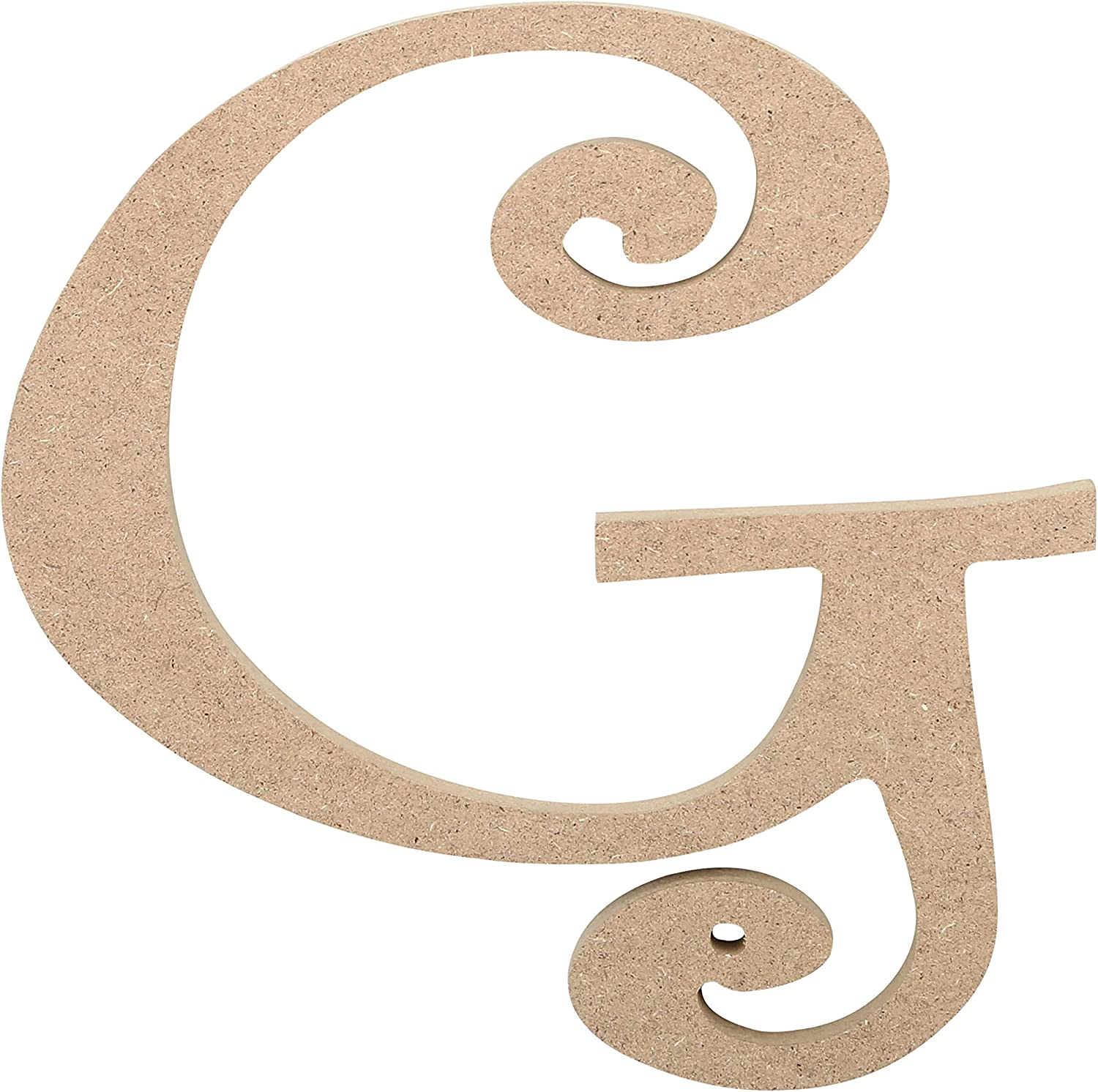 """JoePaul's Crafts Curly Wooden Letters - 6"""" - G - Premium Unfinished Wood Letters for Wall Decor (6 inch, Letter G)"""