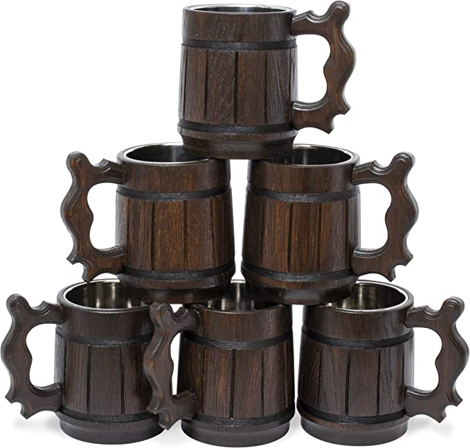 2pcs 400ml Handcrafted Wood Wooden Beer Mug Coffee Drink Cup Heat Insulation