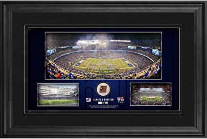 """953ce2e79 Image Unavailable. Image not available for. Color: New York Giants Framed  10"""" x 18"""" Stadium ..."""