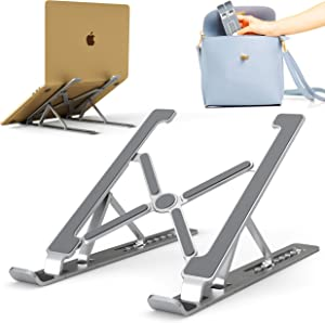 CR Aluminum Laptop Stand - Ergonomic Computer Riser - Foldable Notebook Holder for Table - Lightweight Portable Laptop Stand - Laptop Desk Stand Adjustable Height - Laptop Holder for Desk - Silver
