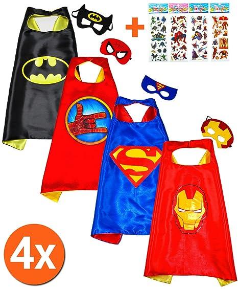 Batman + Superman (set di 2) mantelli e maschere - costumi di supereroi per  bambini mantello e ... eb08e175465