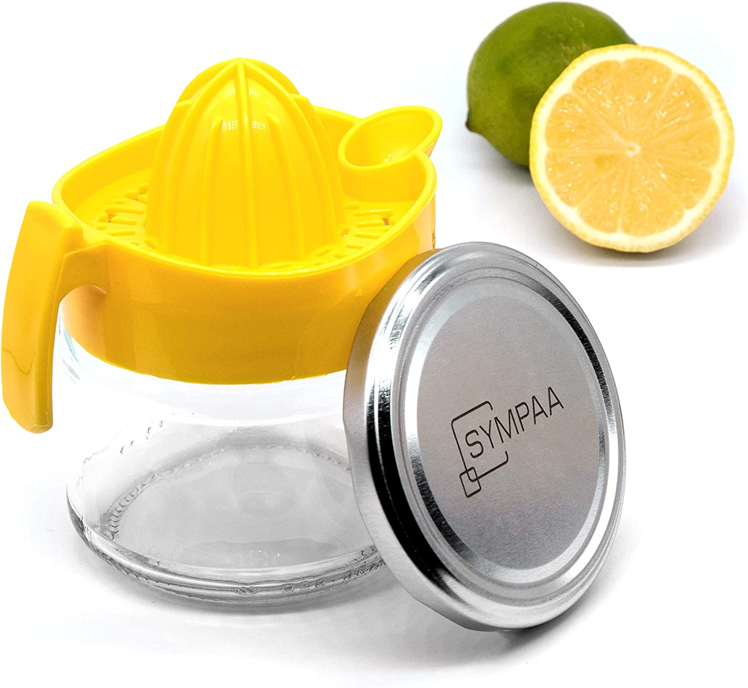 SYMPAA Lemon squeezer with glass container 220 ml high-quality citrus press including practical screw cap for long-term storage