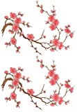 Two Asian Cherry Blossom Sakura Flower Iron on Embroidered Appliques Patch Japanese Chinese (Pink)