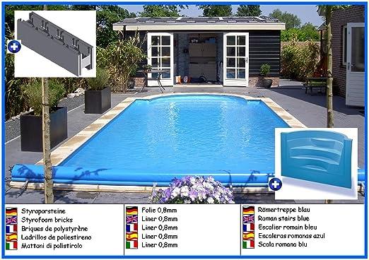 House of Pools Piscina de poliestireno Forma de Rectangular con Escalera Romana 3, 50m x 7, 00m x 1, 50m Liner 0, 8mm: Amazon.es: Jardín
