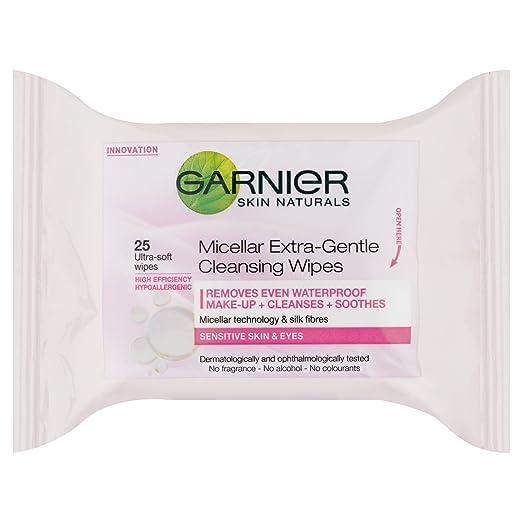 Piel Garnier Naturals micelar, extremadamente suave, toallitas de limpieza 25: Amazon.es: Belleza