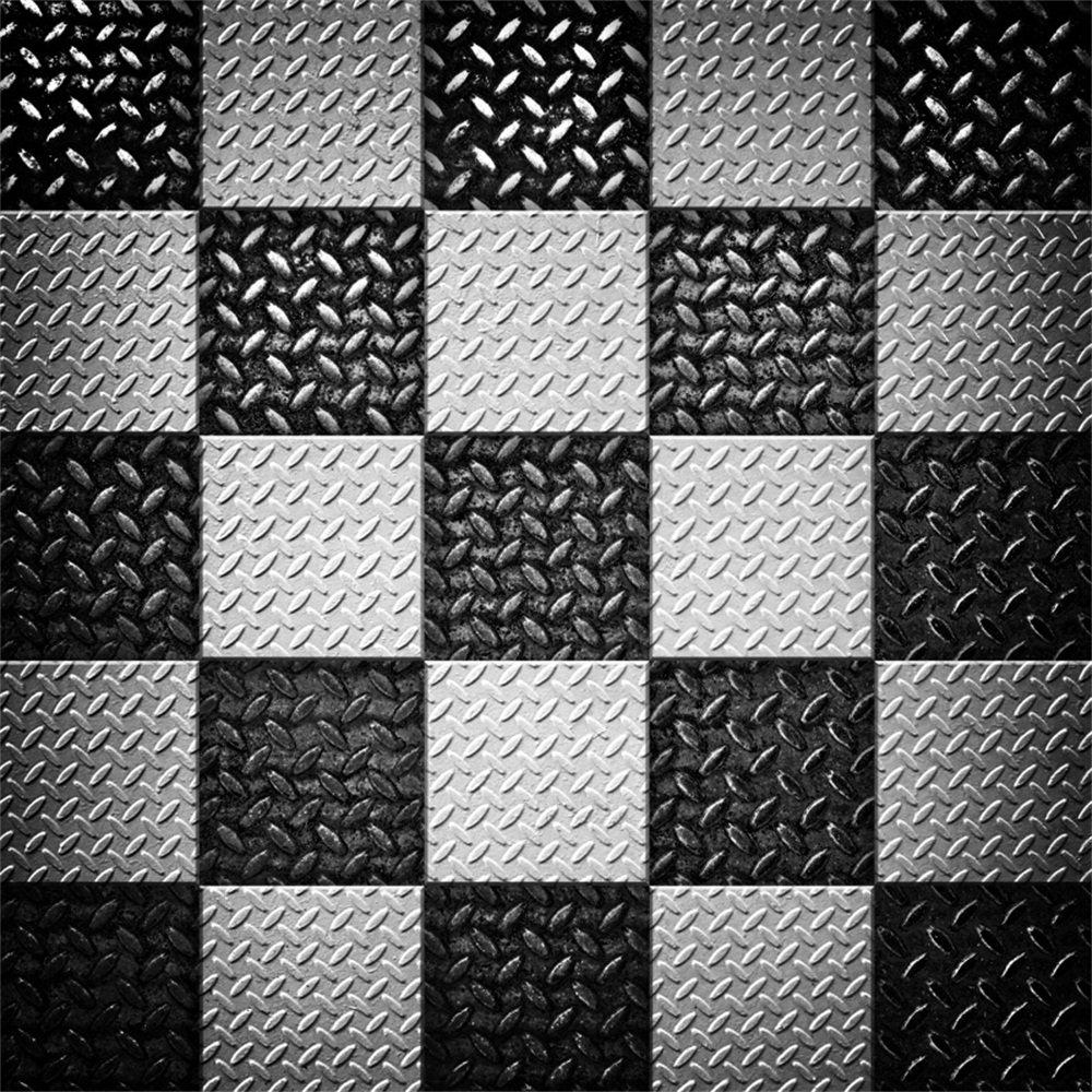 lfeey 6 x 6ft肖像画のブラックとホワイトチェッカーBackdrops SquareメッシュChequered Flagメタルパターン抽象背景写真Kidsガールズフォトスタジオ小道具   B07FBZK3T6