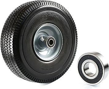 NK Heavy Duty Solid Rubber Flat Free Tubeless Hand Truck//Utility Tire Wheel 4...