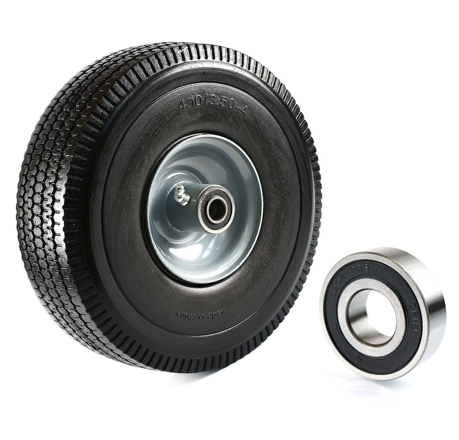 (Set of 2) NK Heavy Duty Solid Rubber Flat Free Tubeless Hand Truck/Utility Tire Wheel, 4.10/3.50-4'' Tire, 2-1/4'' Offset Hub, 5/8'' Bearing With 2 Bearing