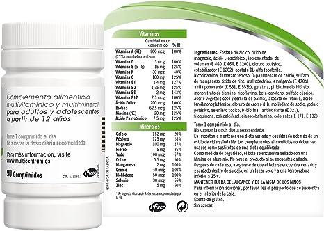Multicentrum, Complemento Alimenticio con 13 Vitaminas y 11 Minerales, para Adultos y Adolescentes a partir de 12 años - 90 Comprimidos: Amazon.es: Salud y cuidado personal