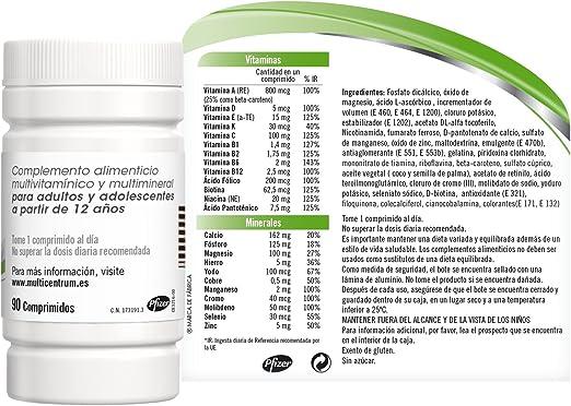 Multicentrum, Complemento Alimenticio con 13 Vitaminas y 11 Minerales, para Adultos y Adolescentes a partir de 12 años - 90 Comprimidos