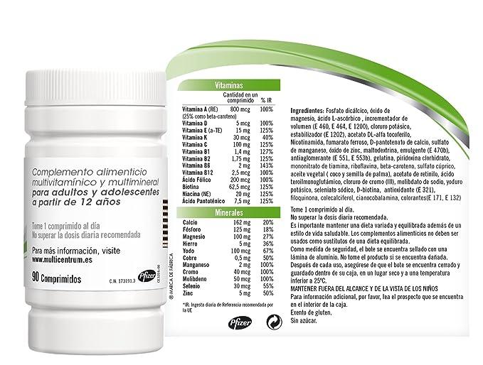Multicentrum Adulto Complemento Alimenticio con 13 Vitaminas y 11 Minerales, Con Vitamina B1, Vitamina B6, Vitamina B12, Hierro, Vitamina D, Vitamina ...