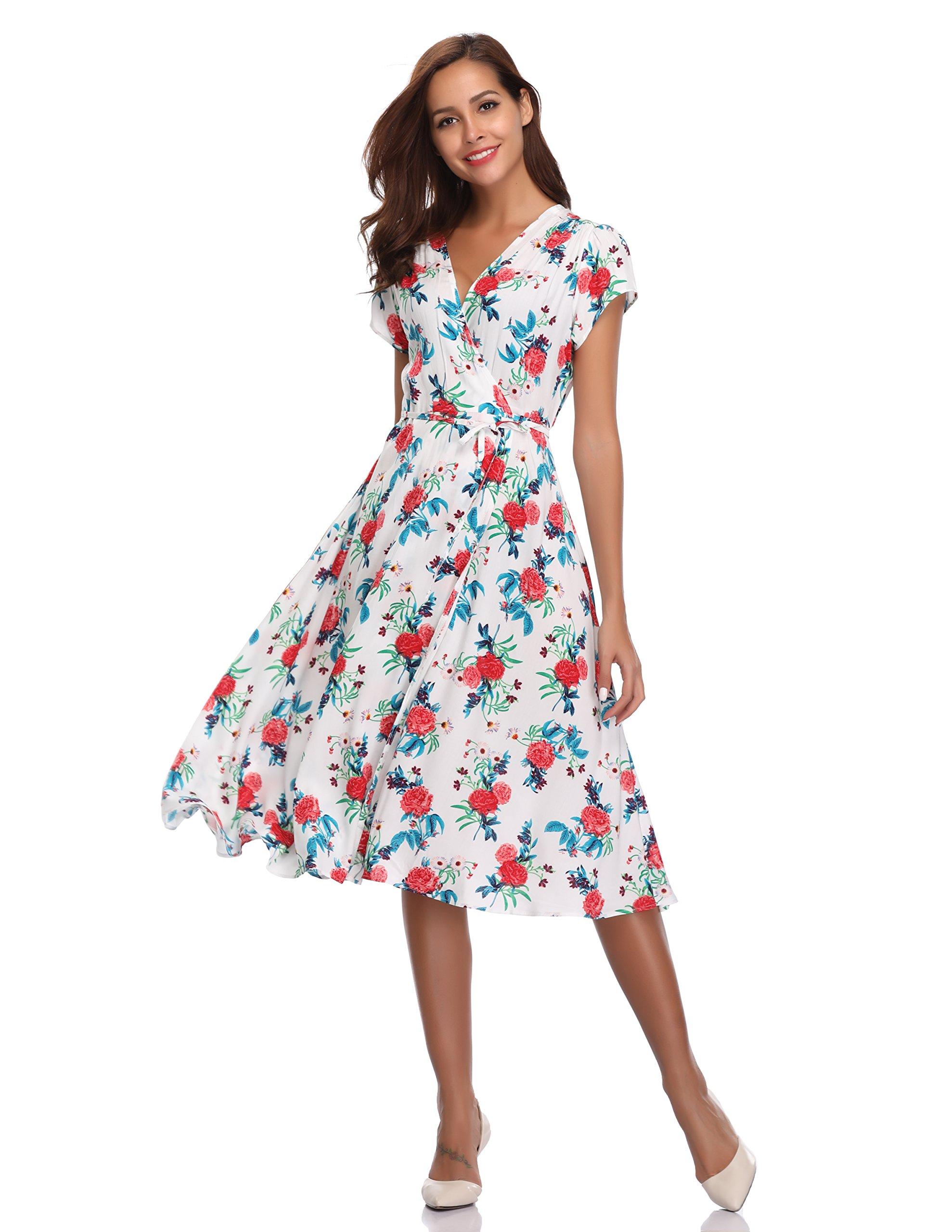 Floating Time Women's Floral Print Short Sleeve Midi Wrap Dress(S, CF42583-3)