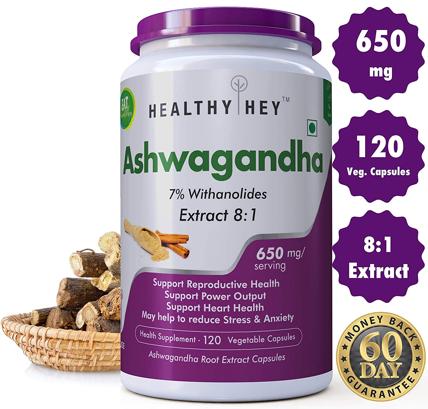 Buy Healthyhey Nutrition Ashwagandha Root Extract Capsules