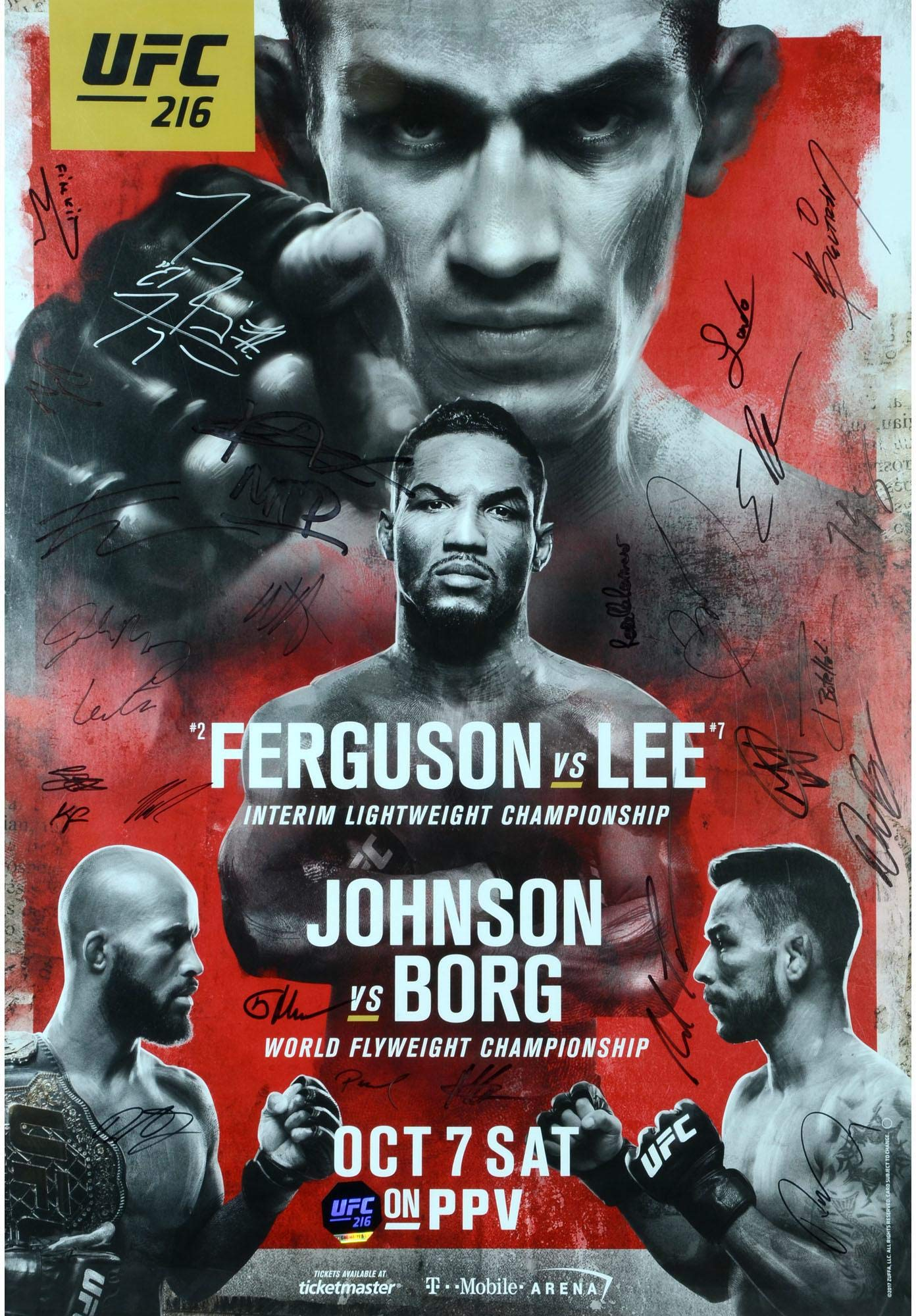 "UFC 216 Ferguson vs. Lee Autographed 27"" x 39"" 22 Signature Fight Poster Fanatics Authentic Certified"