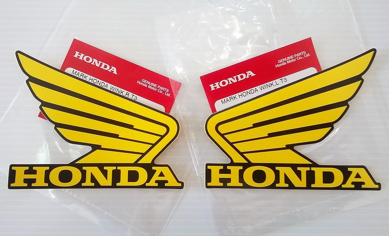 Amazon com honda wings fuel tank gas tank stickers decals 2 x 100mm yellow black left right brand new 100 genuine automotive