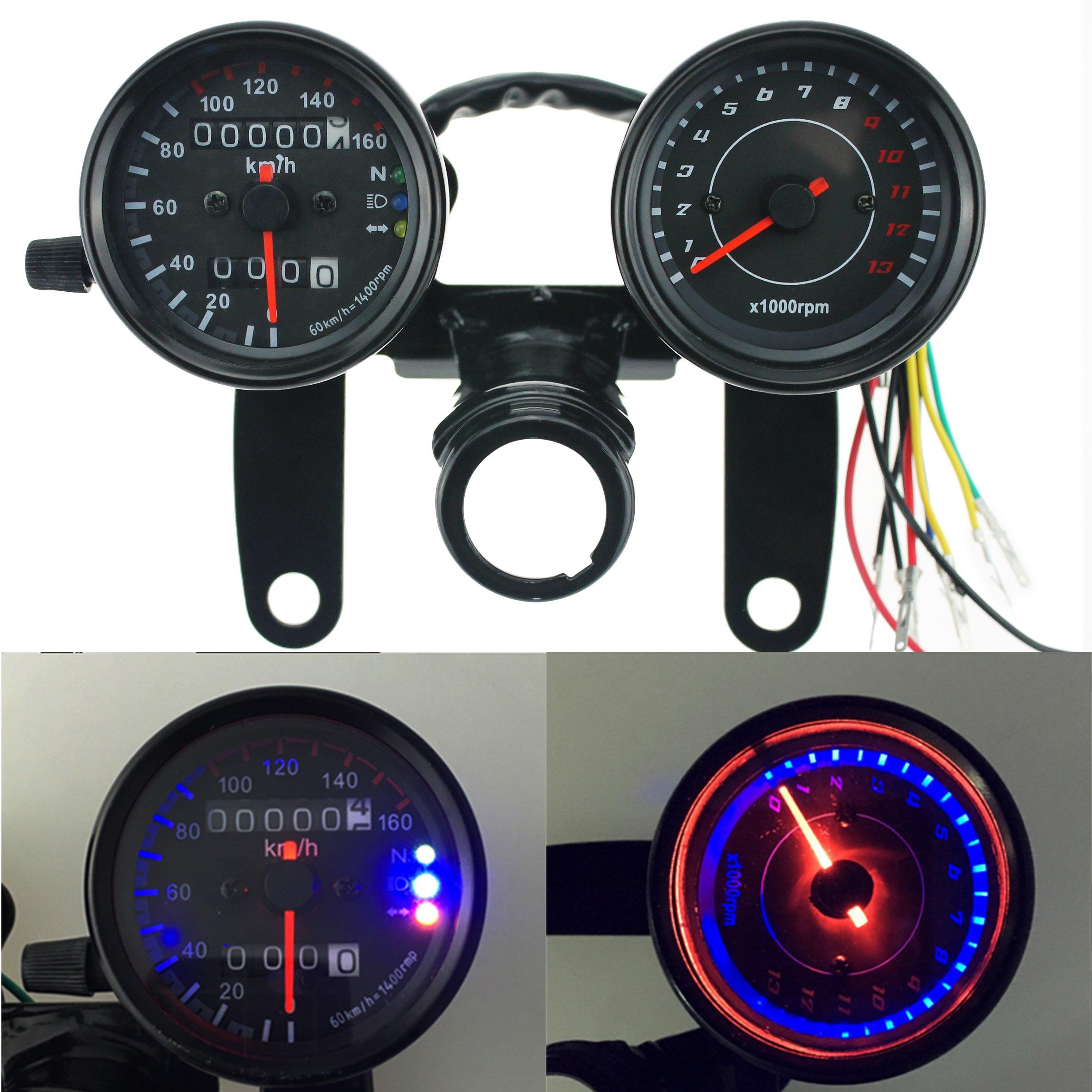 Iztor Motorcycle black Odometer Speedometer and Tachometer with Bracket for Yamaha SR XV RX Cafe Racer Suzuki Honda Kawasaki by iztor