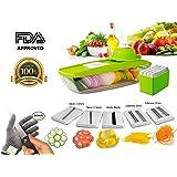 Saveur Royal® Mandoline Légume + EXTRA Gant Anti Coupures - Coupe-légumes avec 5 lames, Coupeur Légume Coupe-légumes Coleur Vert
