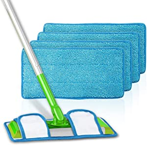 LANMU Reusable Pads Compatible with Swiffer Sweeper Mops, Replacement Washable Mopping Cloth Refills (4 Pack)