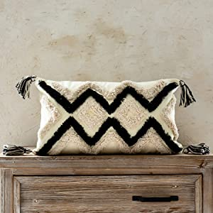 Woven Tufted Boho Lumbar Throw Pillow Cover, Modern Decorative Geometric Chevron Cushion with Tassels, Farmhouse Tribal Pillowcase for Couch Sofa Bedroom Living Room, 12 x 20 Inches, Black, Ivory