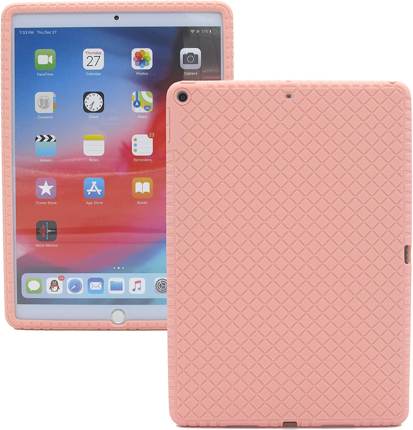 Veamor iPad Air 3 10.5 Inch 2019 Silicone Back Case Cover, Anti Slip Flexible Rubber Protective Skin Soft Bumper Only for Apple iPad Air 3rd Gen (Won't fit iPad Air 1 / Air 2) (Pink)