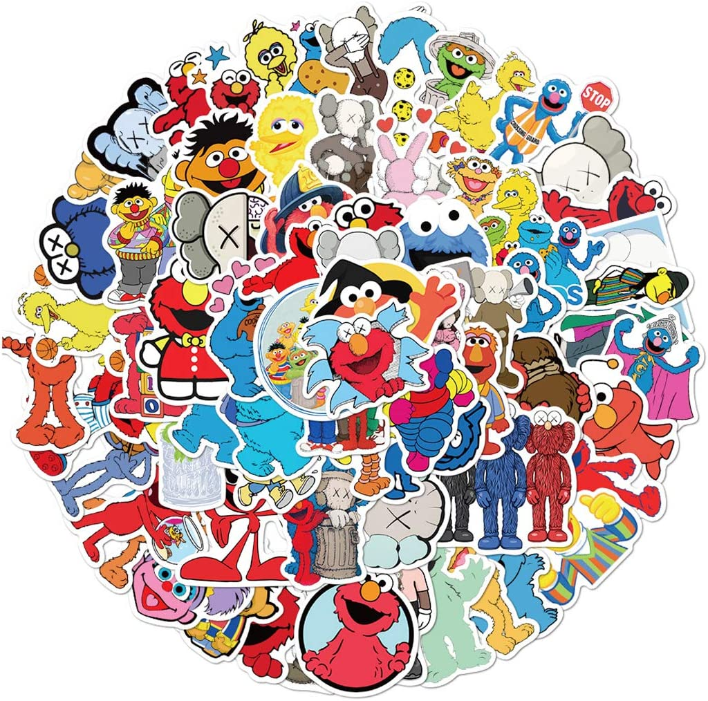 KAWS and Sesame Street Stickers for Water Bottles 100 Pcs Cute,Waterproof,Aesthetic,Trendy Stickers for Teens,Girls Perfect for Waterbottle,Laptop,Phone,Travel Extra Durable Vinyl