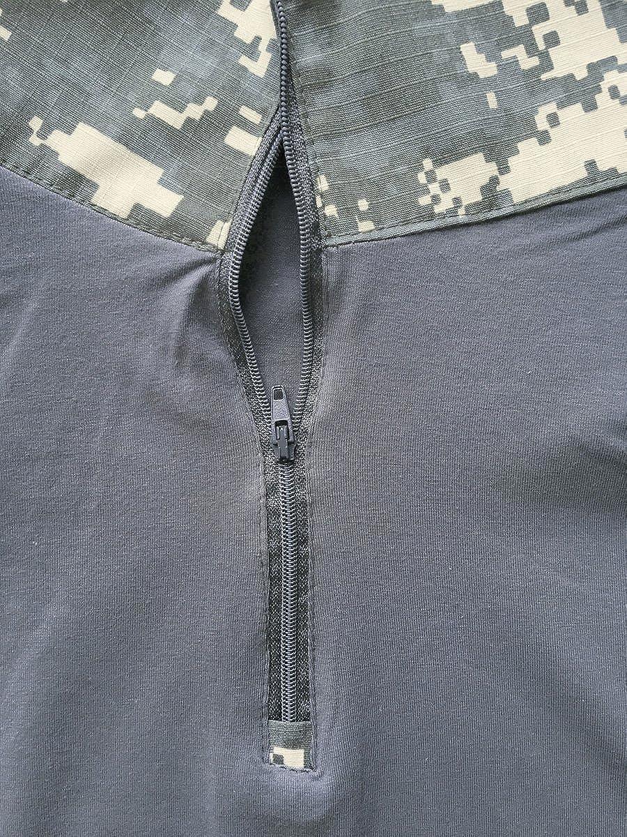 MAGCOMSEN Mens Tactical Military Shirts 1//4 Zip Short Sleeve Slim Fit Camo Shirt