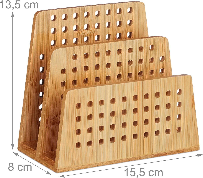 Dokumentenhalter 2 Fächer Ordnungssystem Büro Bambus Briefhalter A5 Briefständer