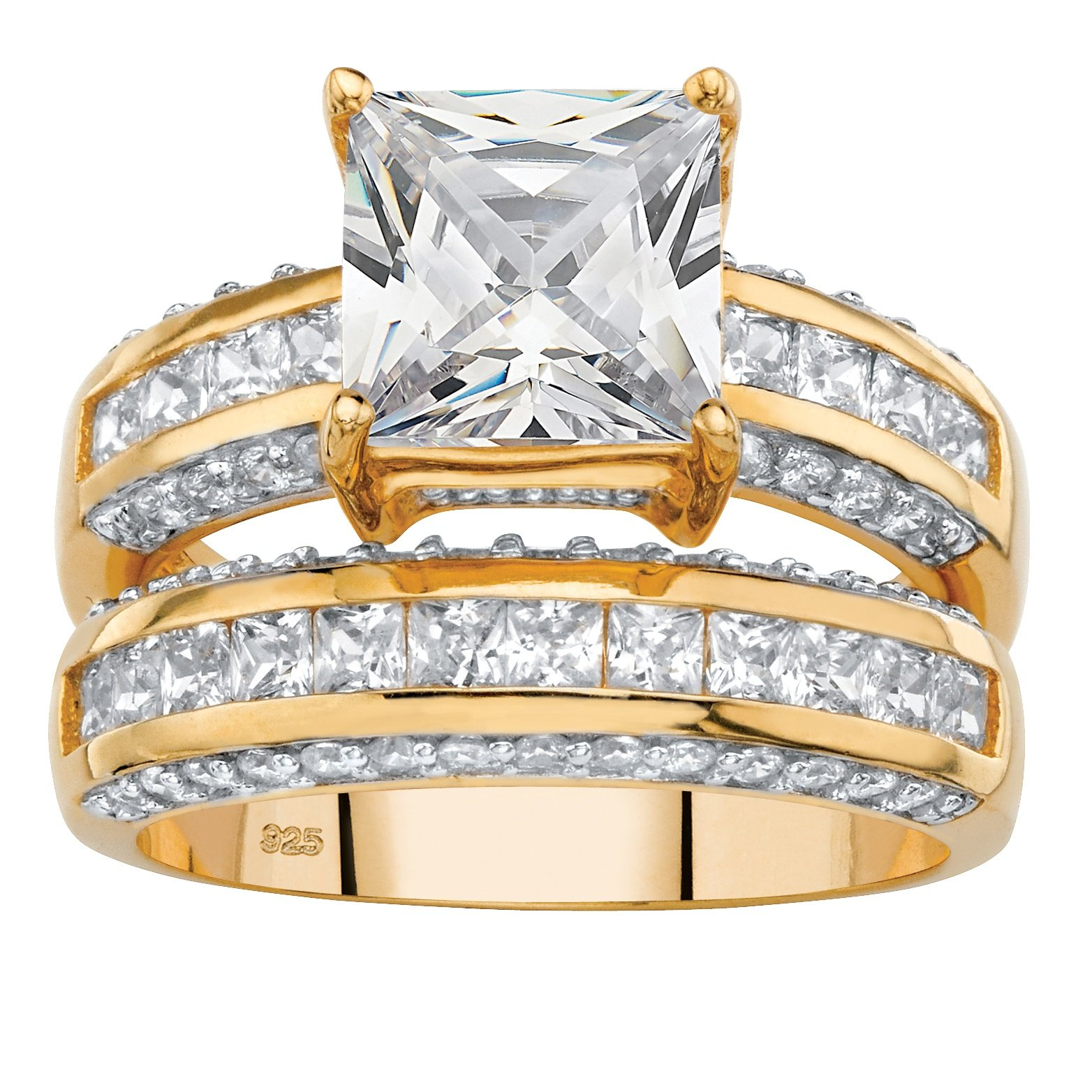 Princess-Cut White Cubic Zirconia 14k Gold over .925 Silver 2-Piece Bridal Ring Set Size 10