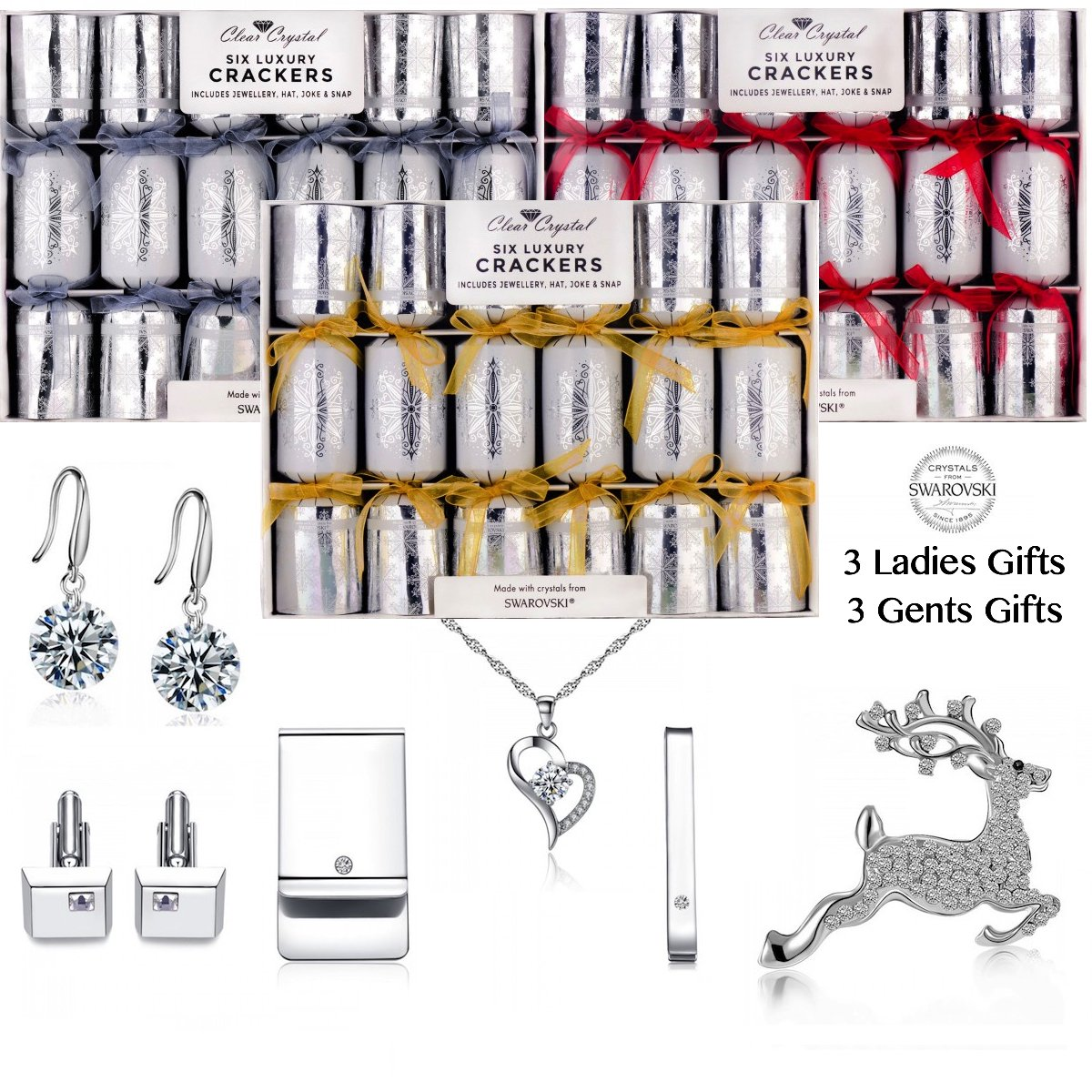 6 LUXURY SWAROVSKI CHRISTMAS CRACKERS by CLEAR CRYSTAL