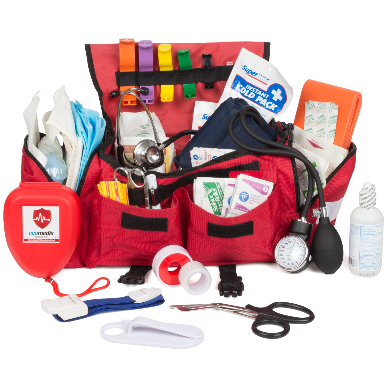 Eco Medix First Aid Kit Emergency Response Trauma Bag (Red) by Eco Medix