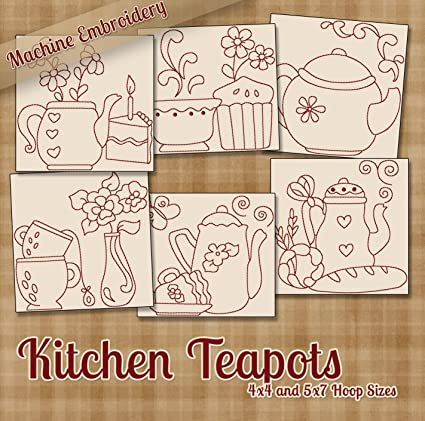 Amazon Com Kitchen Teapots Redwork Tea Time Embroidery Machine