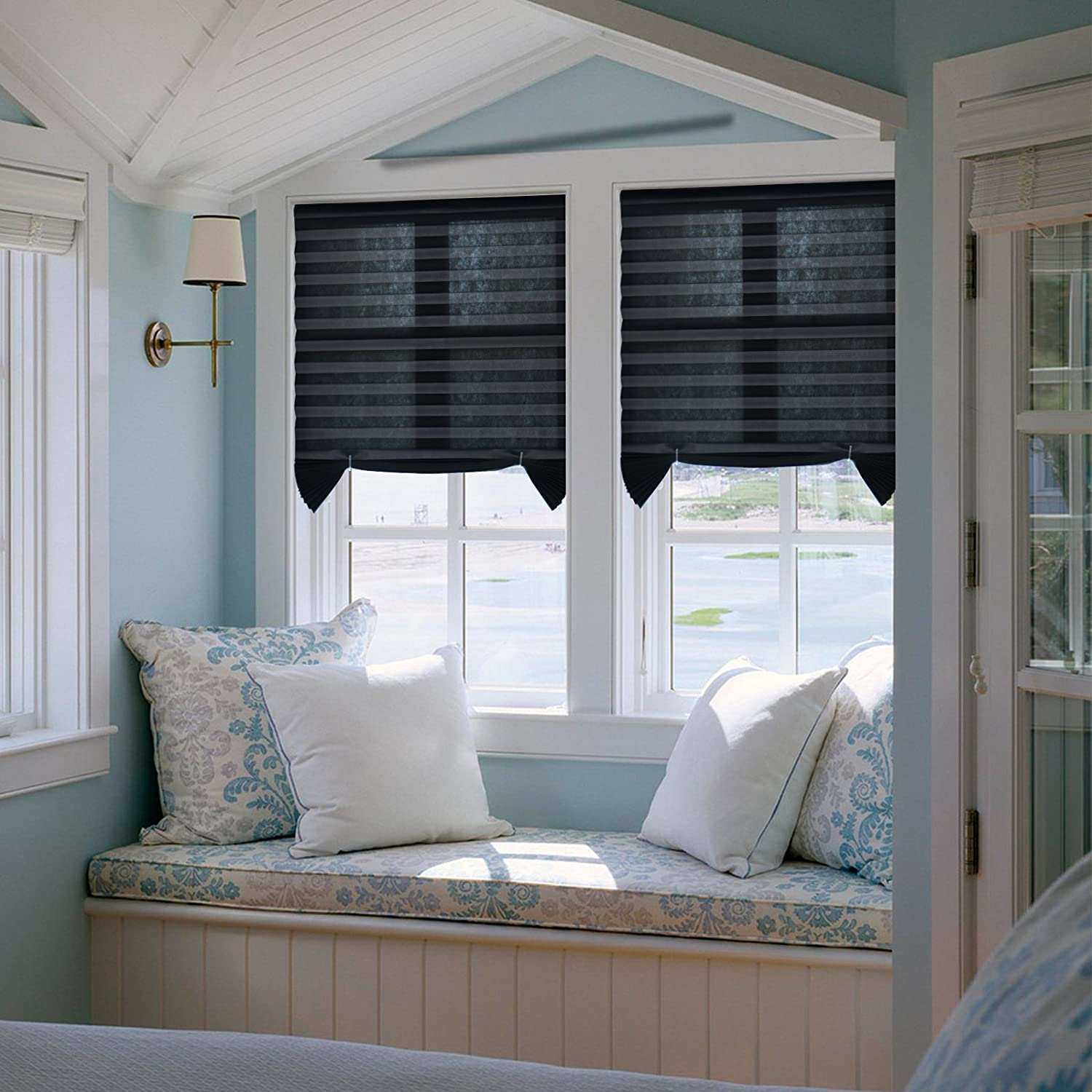 Easy to install Trim at Home Light Filtering Pleated Fabric Shades Blinds  Black For Windows 12
