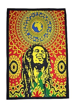 Amazon.com: Bob Marley Tapestry Hippie Wall Hanging Cotton Wall Art ...