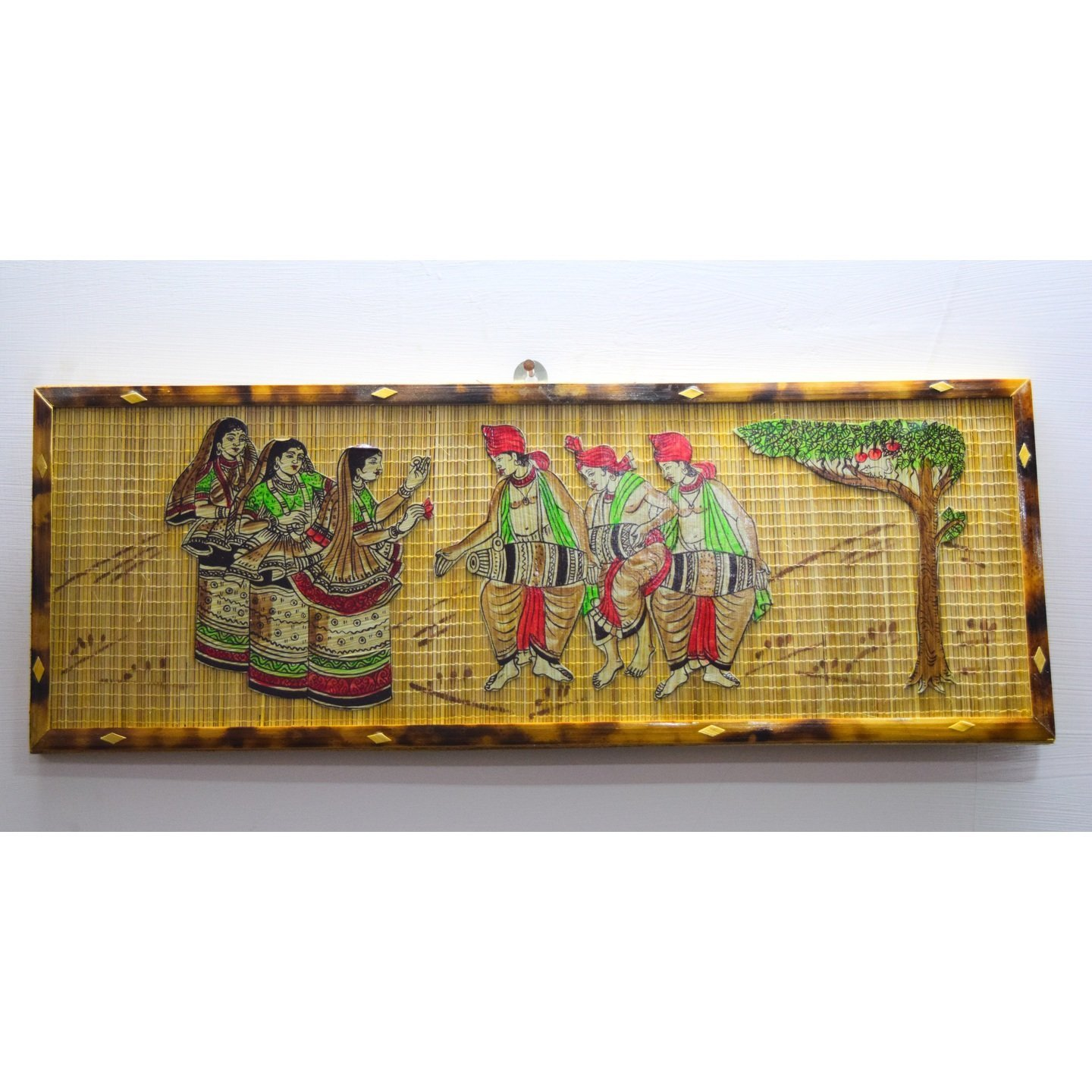Silpakarman Handcrafted in India Bamboo Wall Hanging-Manipuri Dance