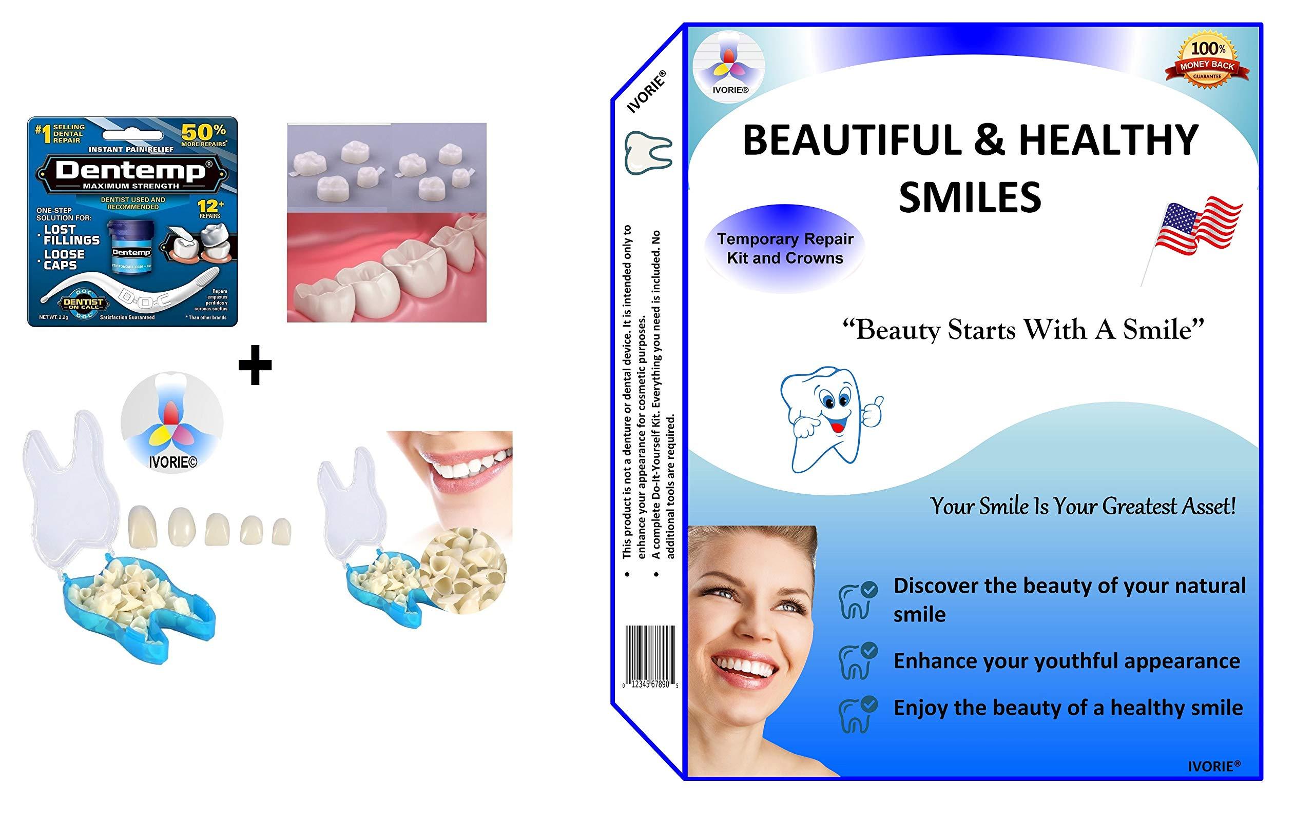 Dental Cosmetic Temporary Crowns & Dental Glue Home Use (Anterior Teeth)
