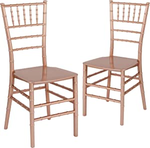 Flash Furniture 2 Pk. HERCULES Series Rose Gold Resin Stacking Chiavari Chair