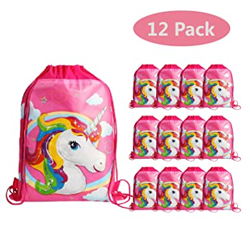 KONGZING Unicorn Party Favor Bags 12 Pack Rainbow Unicorn Bag with Drawstring  Backpack Pink Gift Bag for Women Girls Birthday  Amazon.co.uk  Sports   ... 1960c67a65dec