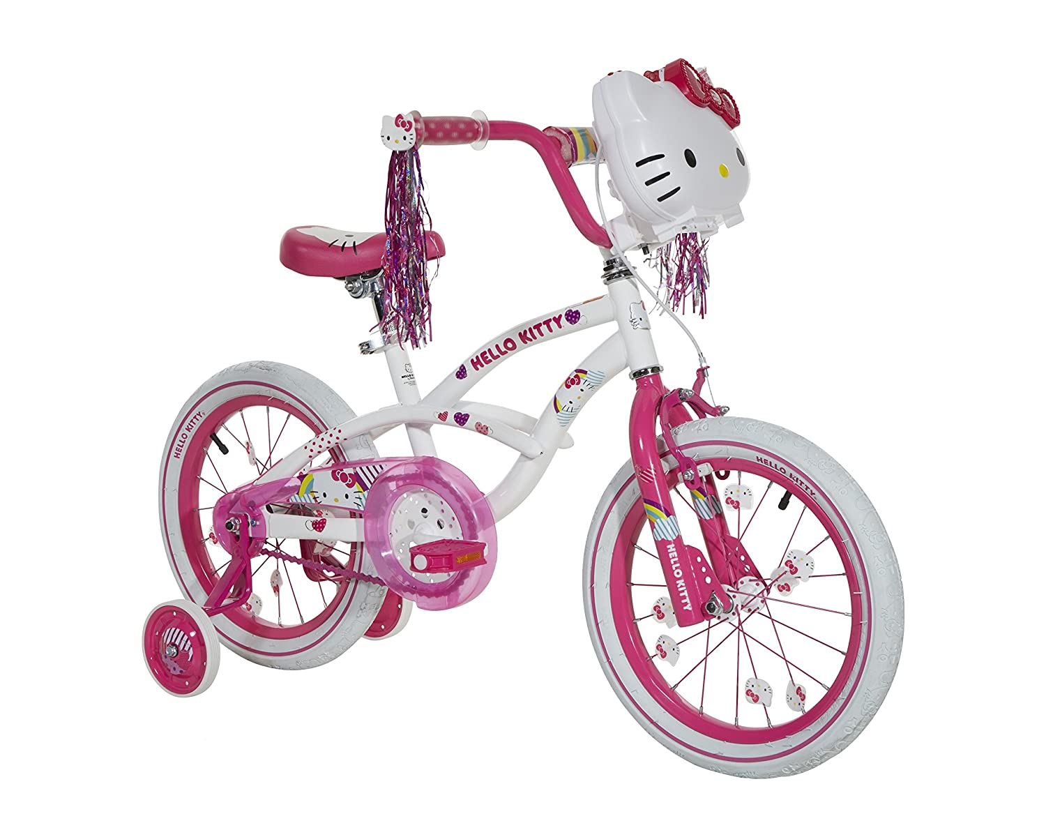 Hello Kitty Girls Bike With Light Up Case White Pink