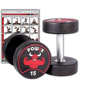 POWRX - Mancuernas con revestimiento de goma 30 kg set (2 x 15 kg ...