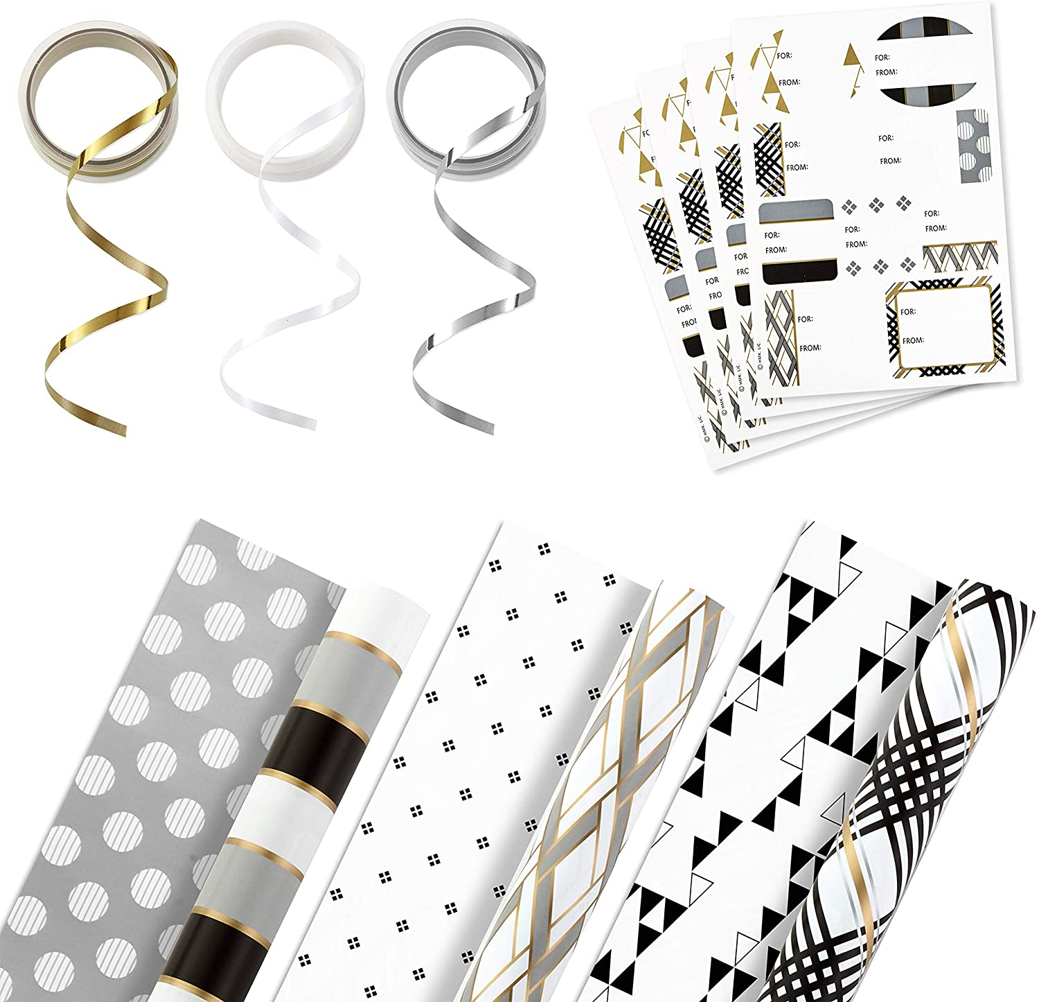 Hallmark Reversible Wrapping Paper Bundle with Ribbon & Gift Tag Stickers- Black, Gold Stripes, Plaid (3 Pack, 120 sq. ft. ttl, 30 Yds. Mini Ribbon, 36 Labels) for Graduations, Weddings, Christmas