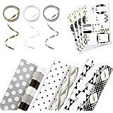Hallmark 双面圣诞包装纸套装,带丝带和礼品标签贴纸 Black and Gold, 3 Pack w/Accessories Tri-Pack 5EWR6358