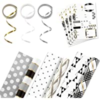 Hallmark Reversible Wrapping Paper Bundle with Ribbon & Gift Tag Stickers - Black, Gold Stripes, Plaid (3 Pack, 120 sq…