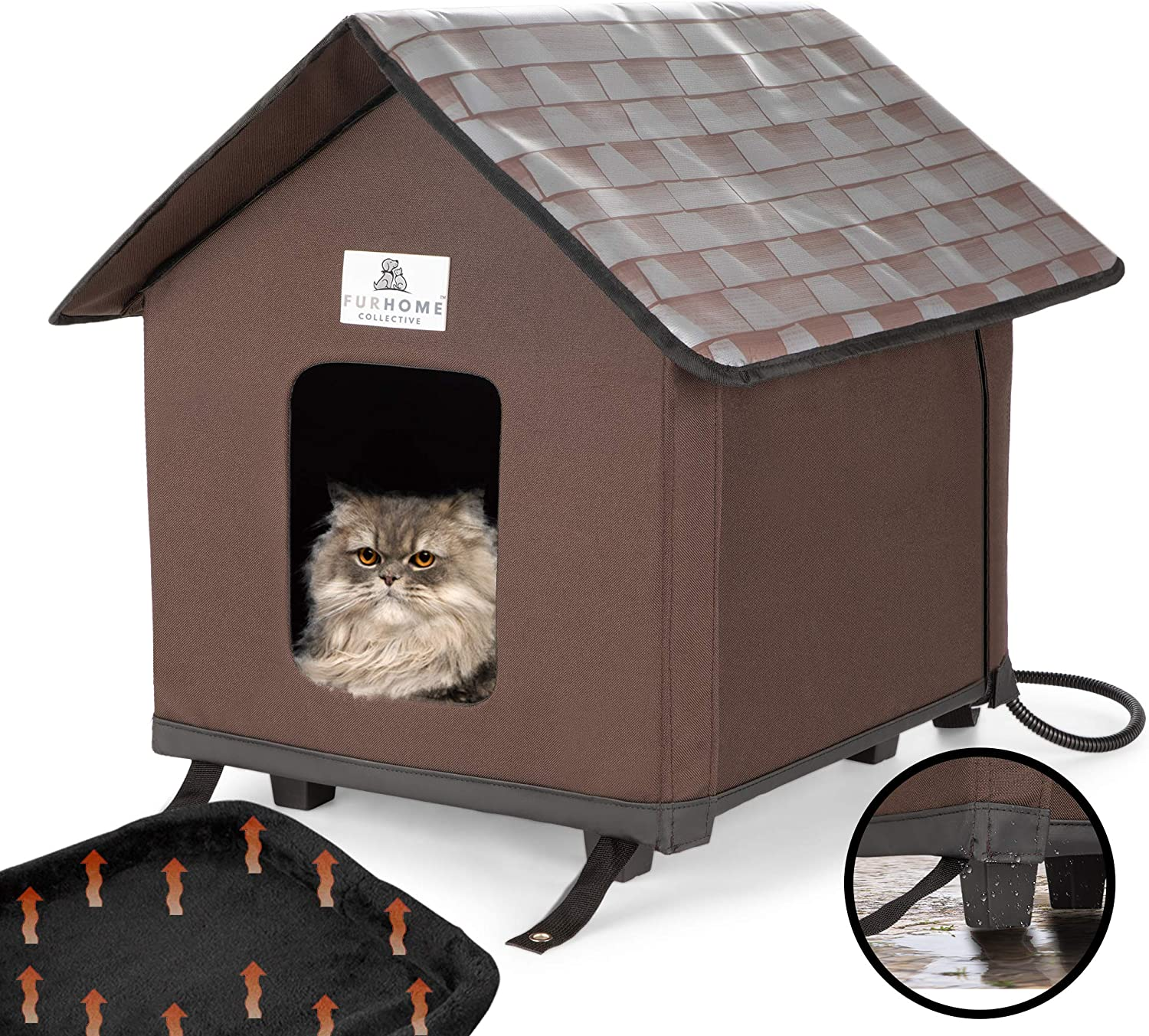 Furhome Collective Heated Cat Houses For Indoor Cats Elevated Waterproof And Insulated A Safe Pet House And Kitty Shelter For Your Cat Or Small Dog To Stay Warm Dry Amazon Ca