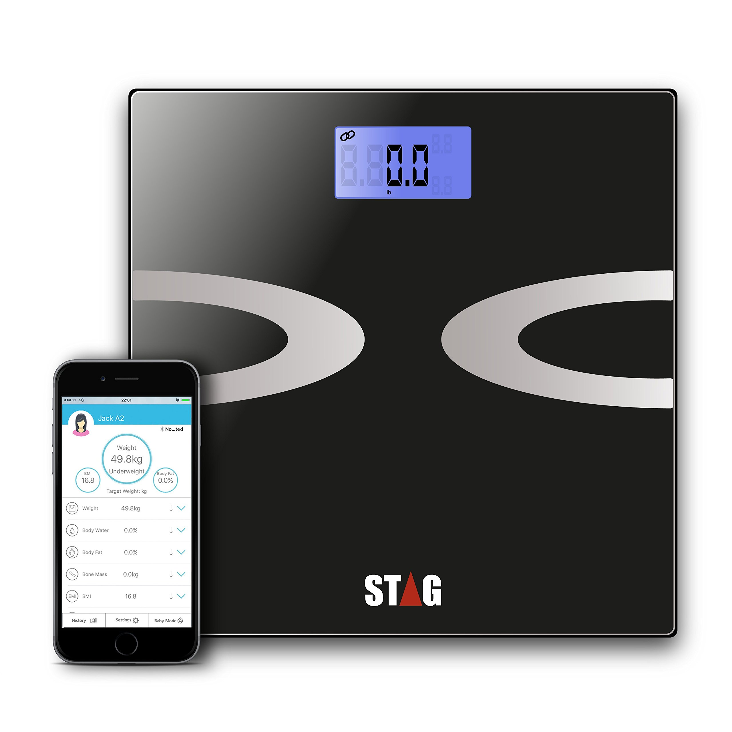 Digital Body Fat Scale - Best Smart Wireless - Weight - Bathroom - Body Composition Analyzer with iOS and Android App for Body Weight - Fat - Water - Bmi - Muscle Mass - 396 lbs