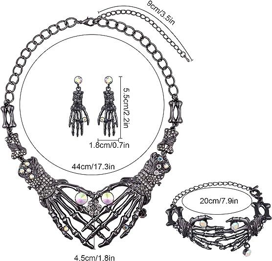 Tacobear Punk Juegos de Joyas para Halloween G/ótico Cr/áneo Cristal Collar Pendientes Pulsera para Mujeres Ni/ñas Accesorio de Fiesta de Halloween