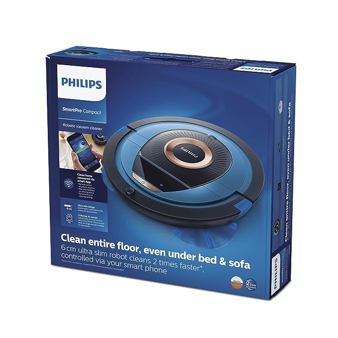 Philips Smart Pro Compact FC8778/01 - Robot Aspirador con Control desde APP, 4 Modos de Limpieza, Alto Rendimiento en Suelos Duros, Sensores Infrarojos y ...