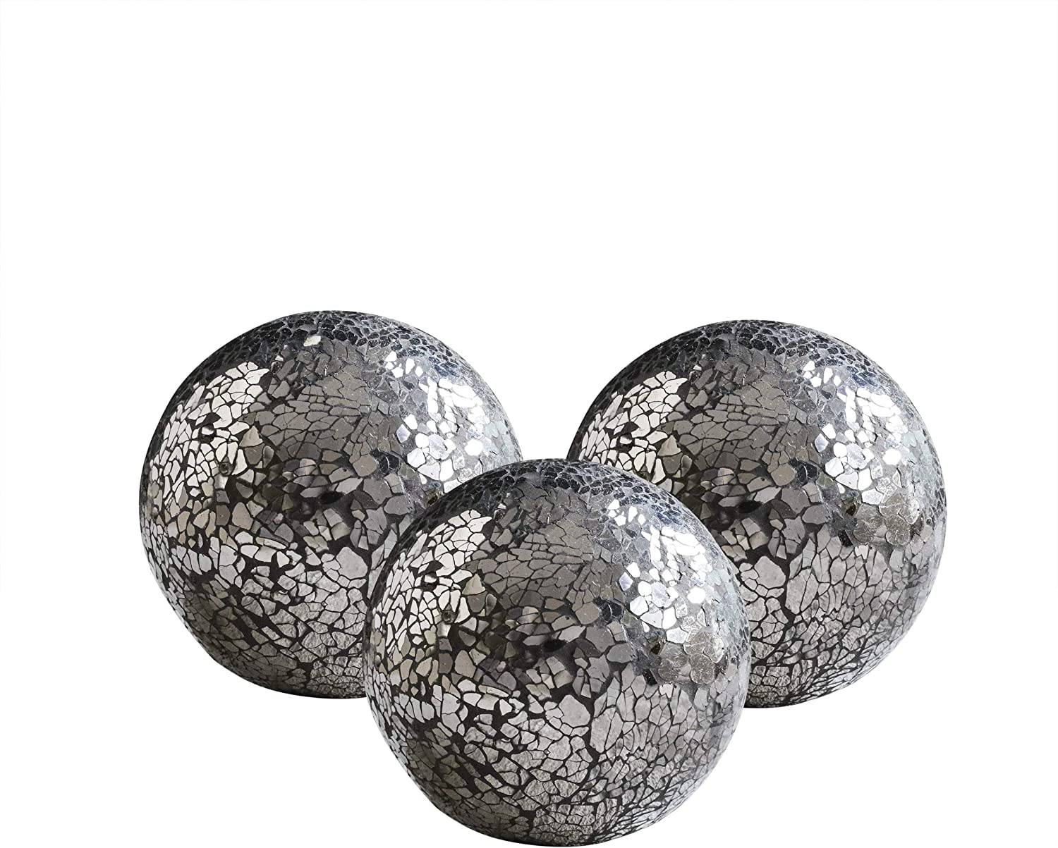 "WH Housewares Glass Decorative Balls Set of 3 Glass Mosaic Sphere Diameter 4"" (Mirror Black)"