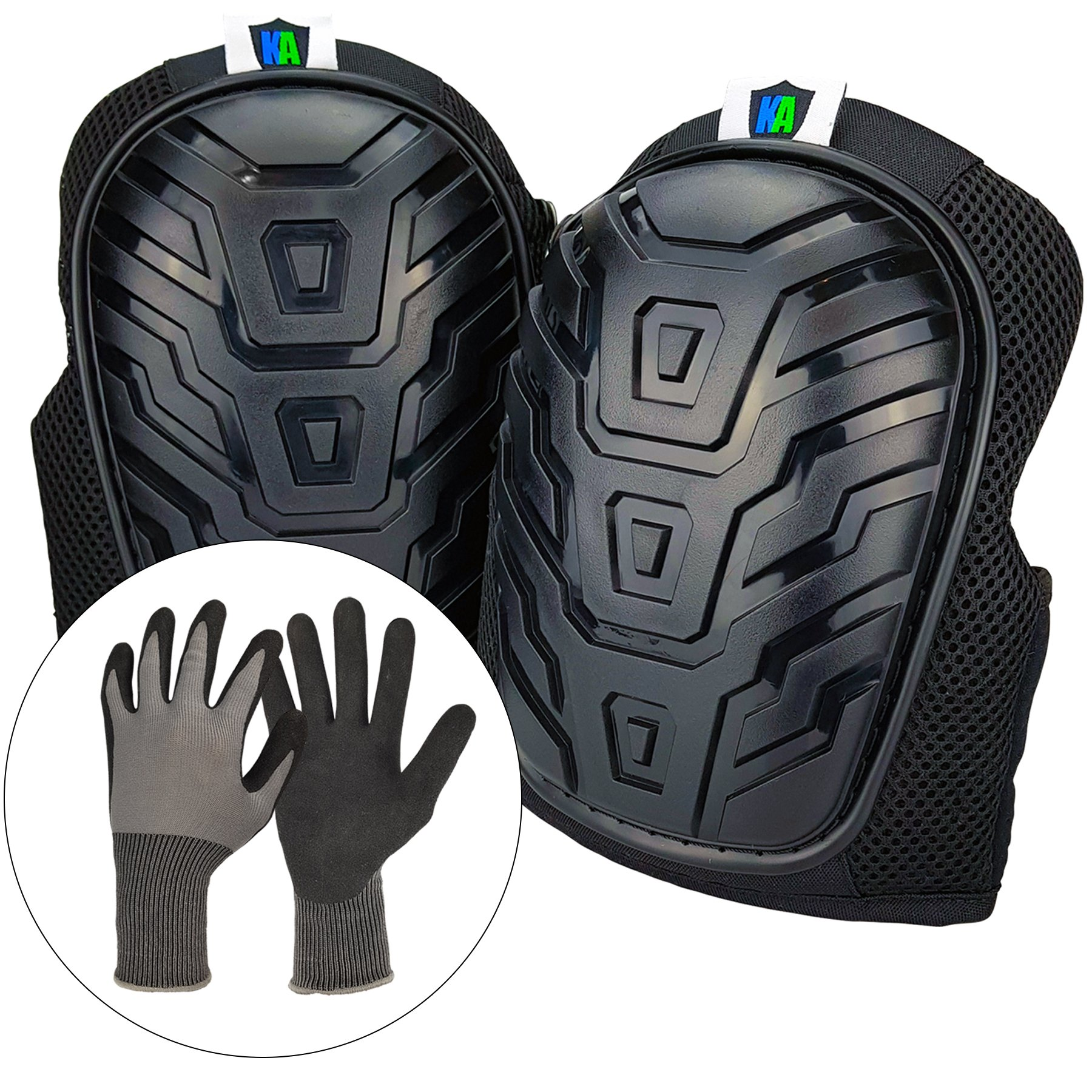 Knee Armor Heavy Duty Professional Knee Pads with Gel Cushions, EVA Foam, Adjustable Straps, Bonus Protective Gloves. Superb Knee and Hand Protection. Perfect for Construction, Gardening and More