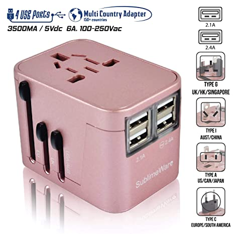 The 220 Volt Plug Amazon Com >> Power Plug Adapter International Travel Rose Gold W 4 Usb Ports Work For 150 Countries 220 Volt Adapter Travel Adapter Type C Type A Type G