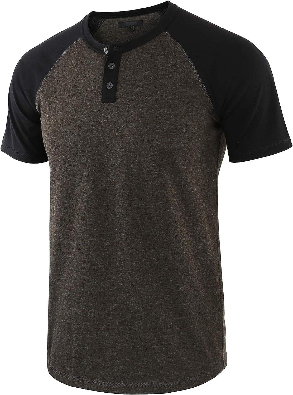 Jhsnjnr Mens Casual Premium Slim Fit T-Shirts Henley Raglan Short Sleeve Summer Clothes